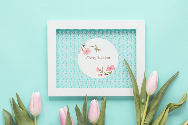 Flat lay frame mockup for spring