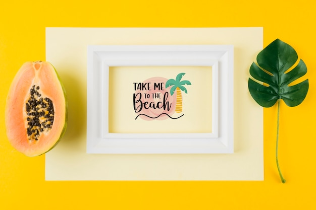 Flat lay frame mockup for summer concepts
