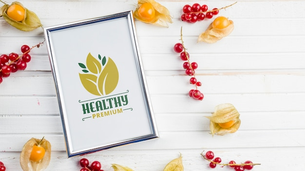 Flat lay frame mockup with healthy food concept