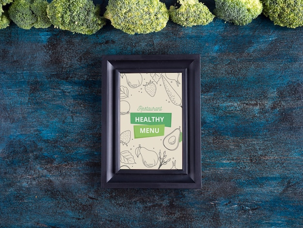 Flat lay frame mockup with healthy food