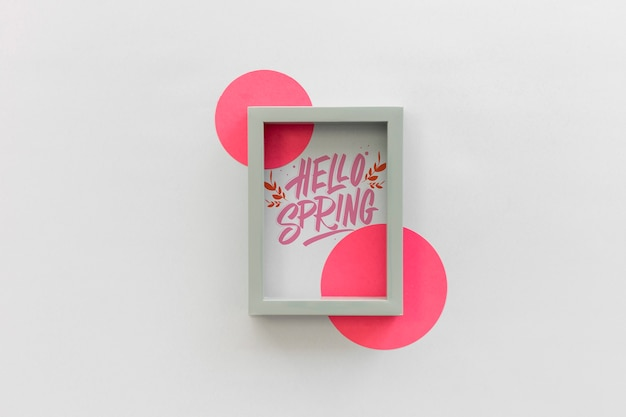 Flat lay frame mockup with spring concept