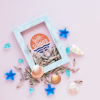 Flat lay frame mockup with summer elements