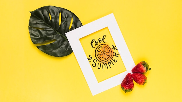 Flat lay frame mockup with summer fruits