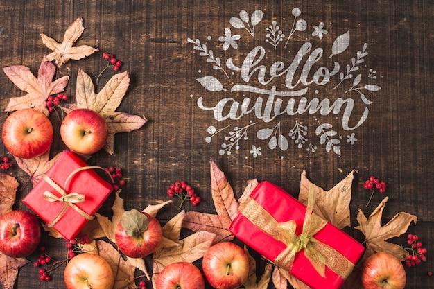 Плоская планировка с яблоками и подарком