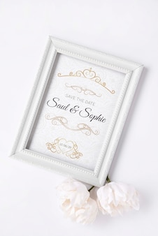 Flat lay frame with save the date