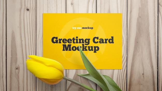 春のフラットレイアウトグリーティングカードモックアップ Premium Psd