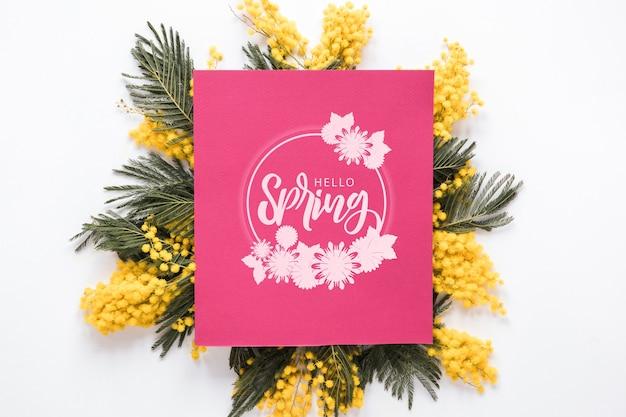 Flat lay greeting card mockup for spring