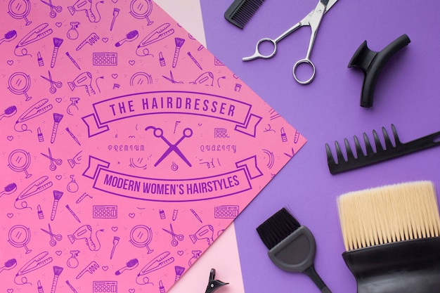 Flat lay of hairdresser concept mock-up