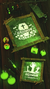 Flat lay halloween concept on wooden background