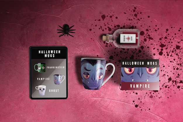 Flat lay of halloween dracula concept