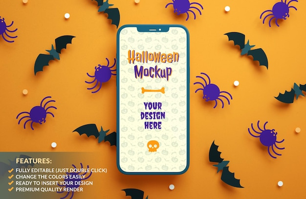 Flat lay halloween phone mockup on a paper bats and spiders background in 3d rendering