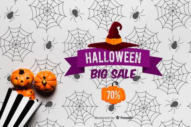 Flat lay of halloween pumpkins concept