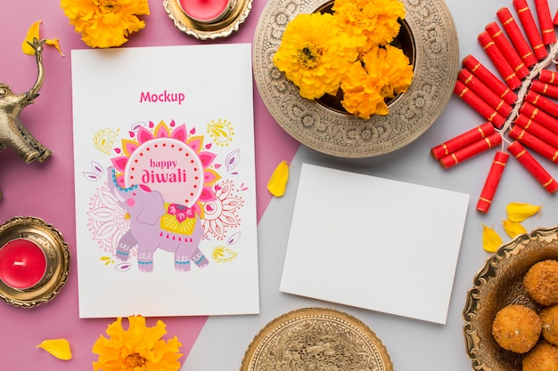 Flat lay happy diwali festival mock-up copy space greeting card