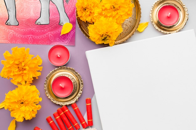 Flat lay happy diwali festival mock-up copy space