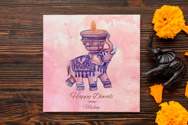Flat lay happy diwali festival mock-up drawing and petals
