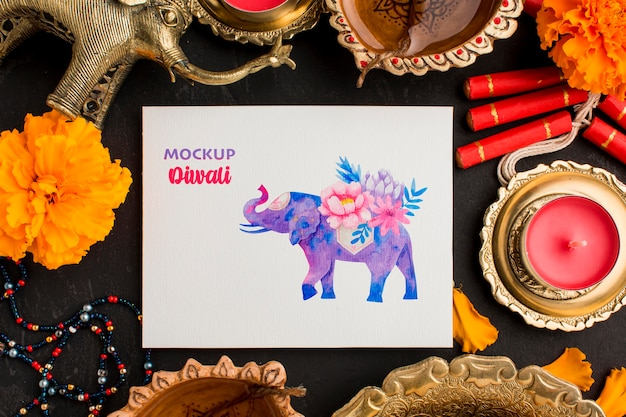 Flat lay happy diwali festival mock-up elephant drawing