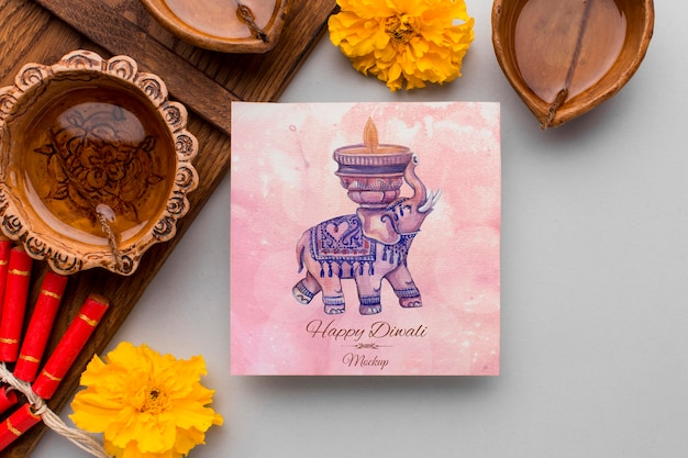 Flat lay happy diwali festival mock-up squared card