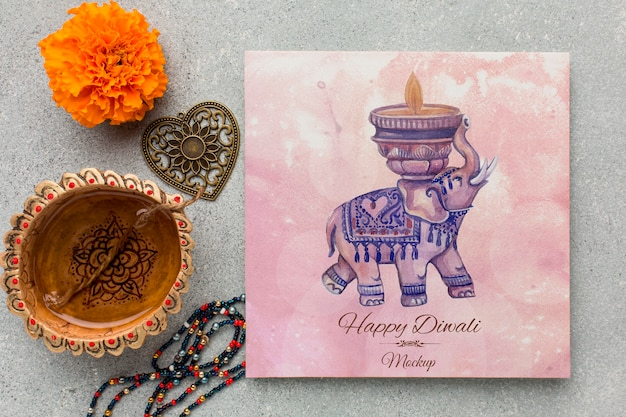 Flat lay happy diwali festival mock-up watercolour elephant