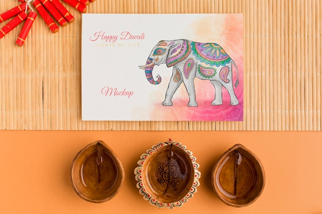 Flat lay happy diwali festival mock-up