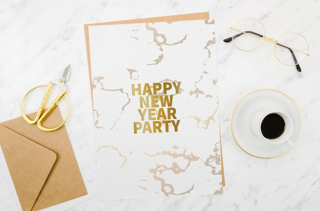 Flat lay happy new year card mock-up