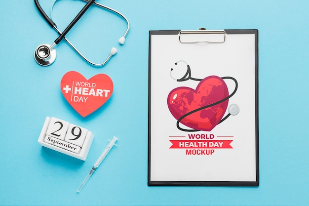 Flat lay health day mock-up with stethoscope
