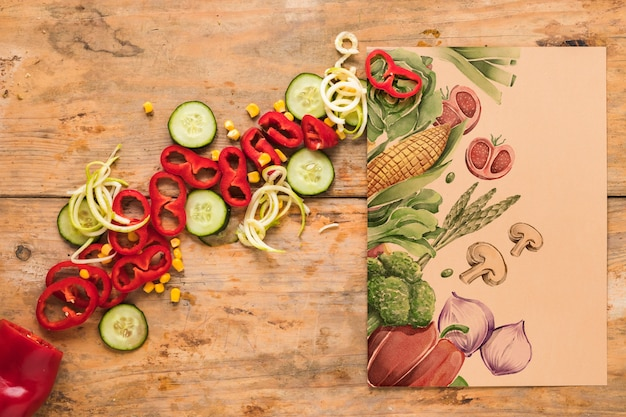 Flat lay of healthy food with card mockup