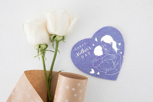 Flat lay heart shapes card mockup for mothers day