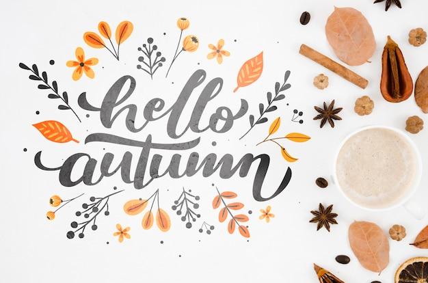 コーヒーの横にあるフラットレイアウトこんにちは秋