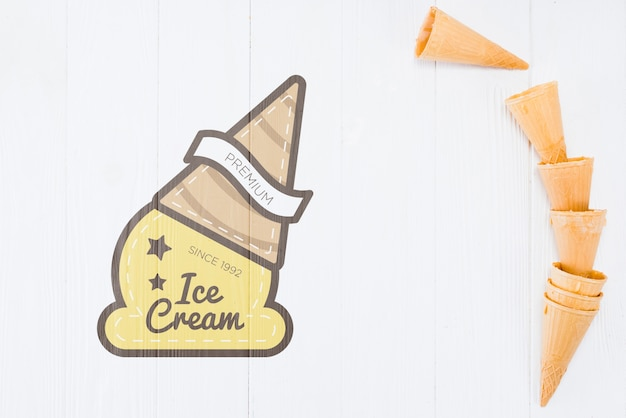 Flat lay ice cream cones with copyspace