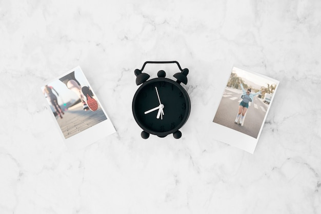 Flat lay instant photo mockup on workspace