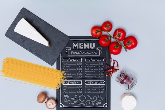 Flat lay italian menu and ingredients
