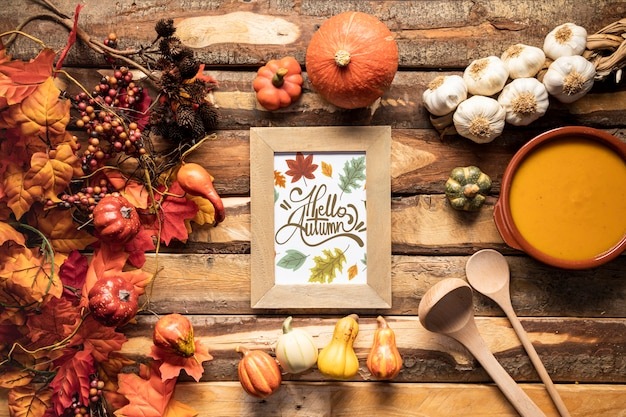 Flat lay kitchen utensils and flavorful autumn food