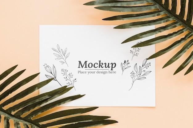 Mock-up di disposizione di foglie piatte
