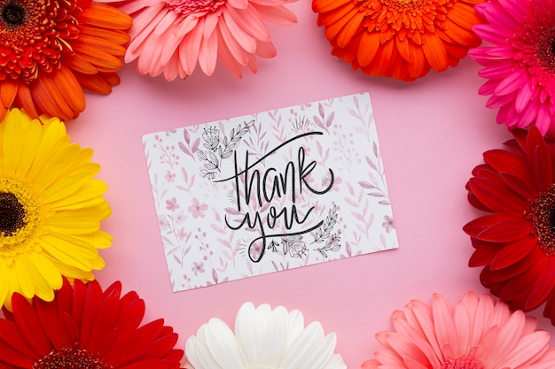 Flat lay of letter and colorful flowers