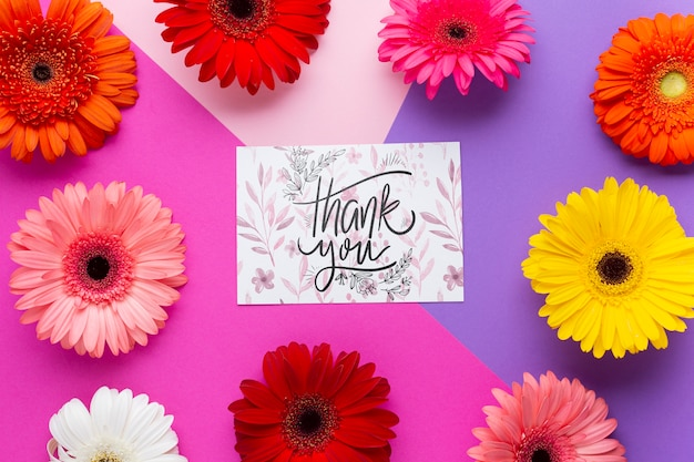 Flat lay of letter with colorful flowers