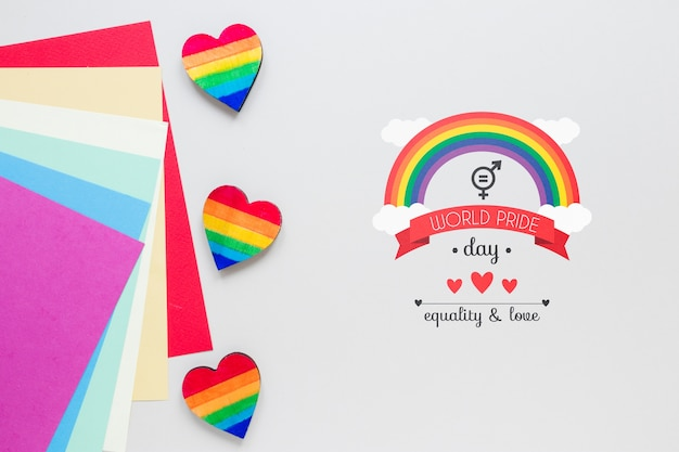 Flat lay lgbt pride composition with copyspace
