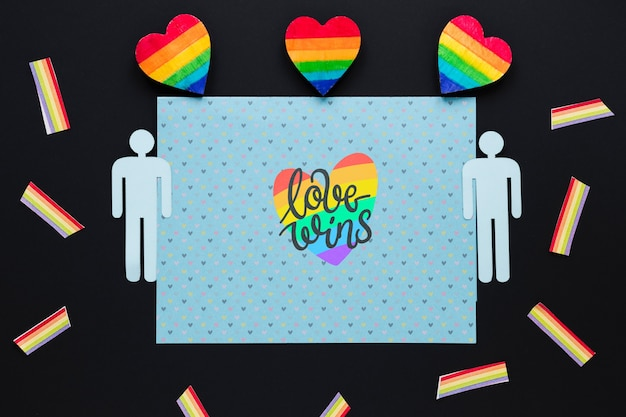 Flat lay lgbt pride composition with paper template