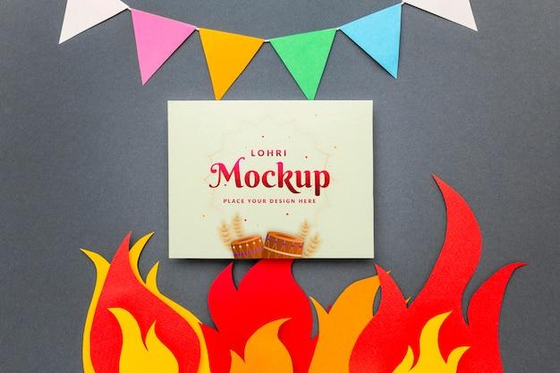 Lay piatto del concetto di lohri mock-up