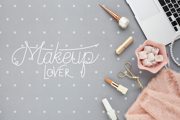 Flat lay of make-up concept mock-up