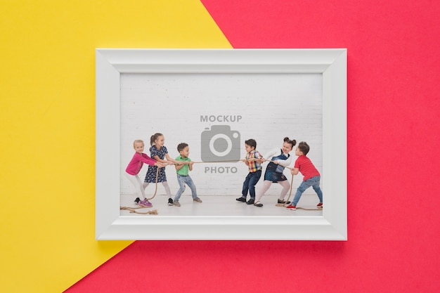 Flat lay of minimal picture frame