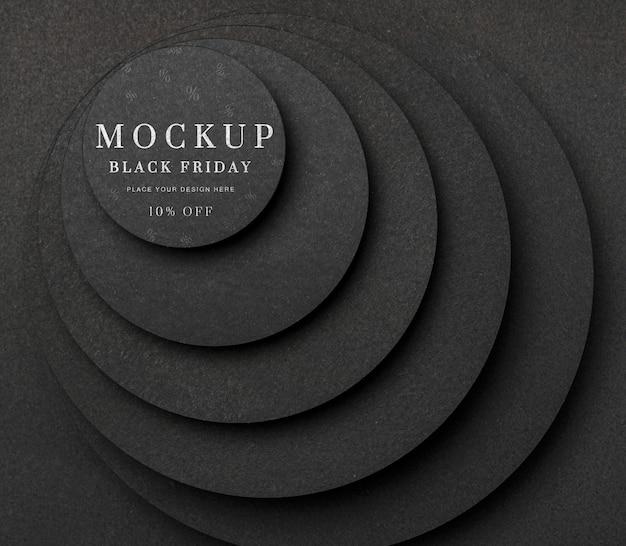 Flat lay mock-up black friday layers of circular stairs