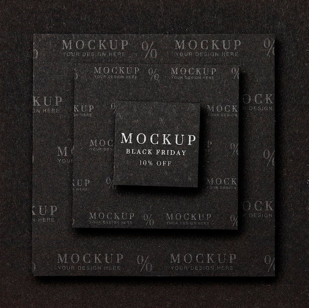 Flat lay mock-up black friday layers of squared shapes