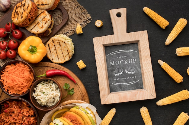 Flat lay mock-up with assortment of food