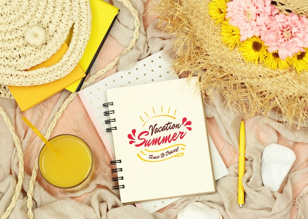 Flat lay mockup notes with summer elements