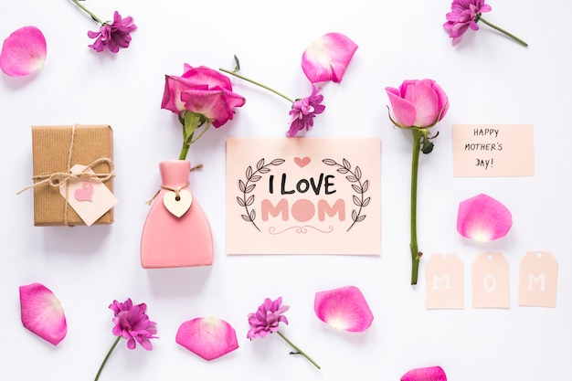 Flat lay mothers day card mockup