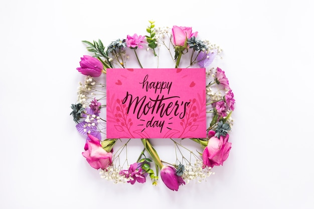 Flat lay mothers day card mockup