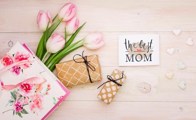 카드 모형 플랫 평신도 어머니의 날 구성