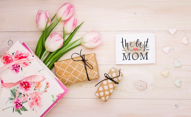 Flat lay mothers day composition with card mockup