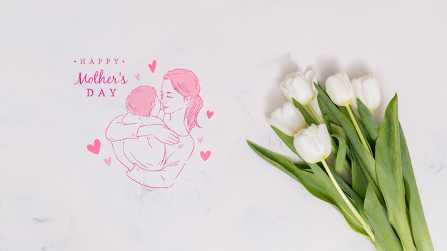 Flat lay mothers day composition with copyspace for logo