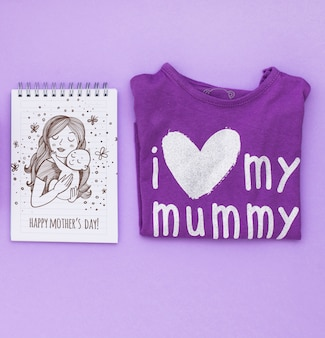 Flat lay mothers day composition with notepad mockup